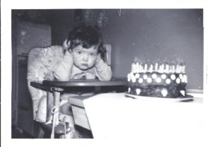 baby Julie and birthday cake